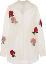 Ashish Embellished Appliquéd Silk-organza Shirt - White