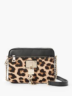 DKNY Elissa Leather Top Zip Cross Body Bag, Black/Leopard