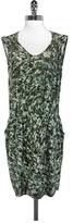 Gerard Darel Green Elastic Waist Silk Dress