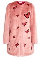 Alice + Olivia Madge Heart-appliquéd Faux Fur Coat