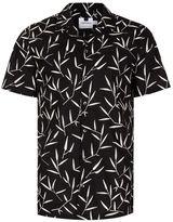 Topman Black Leaf Print Short Sleeve Casual Shirt