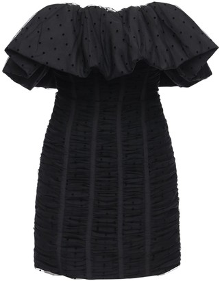 Self-Portrait Polka Dot Ruffled Mesh Mini Dress