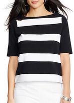 Lauren Ralph Lauren Striped Boatneck Cotton Top