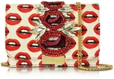 Gedebe Clicky Snake Leather Lips Clutch