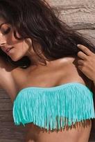 L*Space Swimwear Dolly Fringe Bandeau Bikini Top in Tiffany