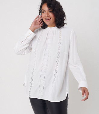 LOFT Plus Embroidered Mock Neck Blouse