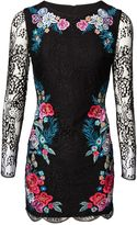 Matthew Williamson Floral Embroidered Black Lace Dress