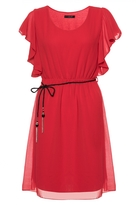 Quiz Red Chiffon Frill Sleeve Belted Tunic Dress