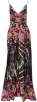 Elie Saab Cape-back Printed Silk-georgette Gown - Pink
