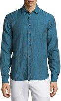 Neiman Marcus Linen Chambray Long-Sleeve Button-Front Shirt, Marine Navy