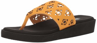 Muk Luks womens Melanie Wedge Sandal-yellow Sandal