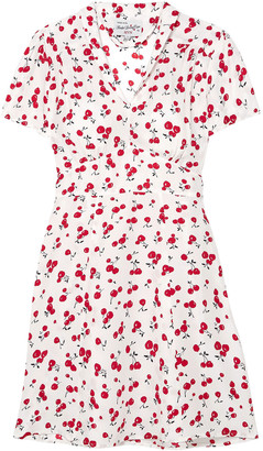 HVN Printed Silk Crepe De Chine Mini Dress