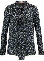 Michael Kors Pussy-Bow Floral-Print Silk-Crepe Blouse