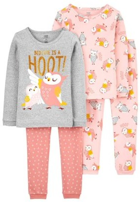 Child of Mine by Carter's Baby & Toddler Girls Long Sleeve Snug Fit Cotton Pajamas, 4-Piece Set (9M-5T)