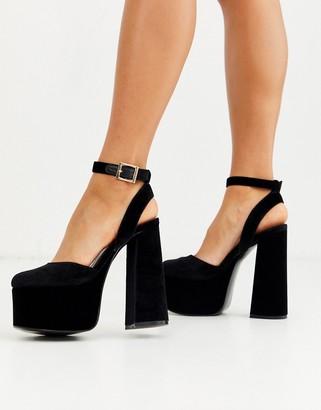 Asos DESIGN Punch chunky platform high block heels in black velvet
