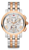 Michele Sport Sail 20 18K Rose Goldplated & Stainless Steel Large Chronograph Bracelet Watch