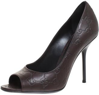 Gucci Brown Guccissima Leather Peep Toe Pumps Size 38