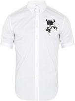 Alexander McQueen Rose-embroidered cotton-blend shirt