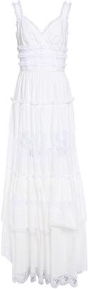 Dolce & Gabbana Tiered Ruffled Lace-trimmed Cotton-blend Poplin Maxi Dress