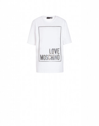 Love Moschino Jersey T-shirt With Iridescent Logo Woman White Size 38 It - (4 Us)