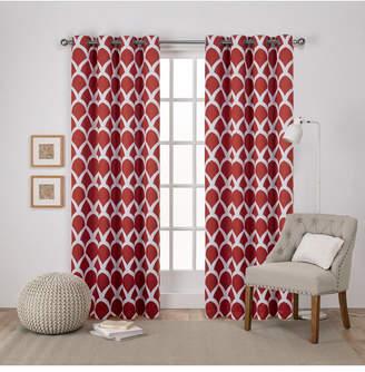 "Durango Exclusive Home Geometric Print Sateen Woven Blackout Grommet Top Curtain Panel Pair, 52"" x 108"""