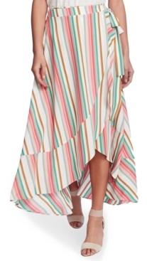 1 STATE Striped Wrap Midi Skirt