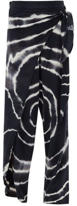 Loewe Paula's Ibiza - Tie-dyed Wrap Cotton-blend Trousers - Womens - Blue White