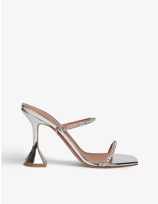 Amina Muaddi Gilda crystal-embellished leather heeled mules
