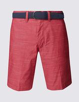 Blue Harbour Pure Cotton Striped Short With Belt