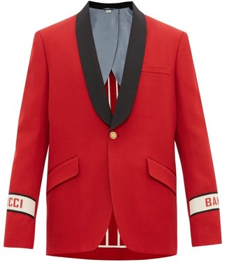 Gucci Single-breasted Band-logo Wool Jacket - Red