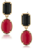 1st And Gorgeous Red and Black Cabochon Double-Drop Earrings