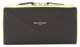 Balenciaga Papier Bicolor Leather Continental Zip Around Wallet