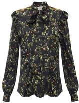 Preen by Thornton Bregazzi Tasha Ruffled Floral-print Silk-blend Blouse - Womens - Black Print