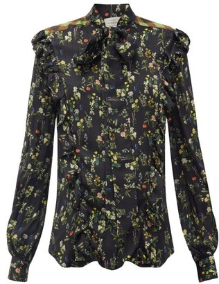 Preen by Thornton Bregazzi Tasha Ruffled Floral-print Silk-blend Blouse - Black Print