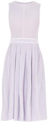 Paisie Knitted Dress With Stripe Details & Pleated Skirt In Lilac & White