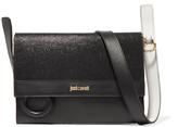 Just Cavalli Metallic and smooth leather shoulder bag