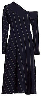 3.1 Phillip Lim Women's Striped One-Shoulder Midi Dress