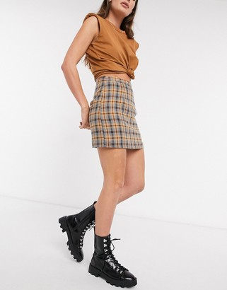 Heartbreak tailored mini skirt in mustard and navy check