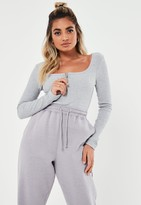 Missguided Petite Grey Zip Front Ribbed Scoop Bodysuit