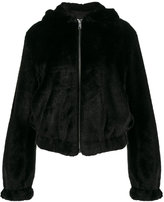 Helmut Lang teddy hood faux fur jacket