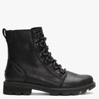 Sorel Lennox Lace Black Leather Ankle Boots