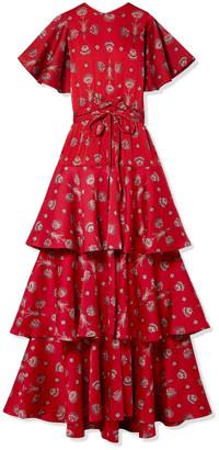 Johanna Ortiz Meditacion Del Mas Alla Tiered Printed Plisse-satin Maxi Dress