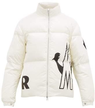 Moncler Friesian Logo Print Down Jacket - Mens - White