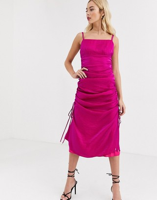 Finders Keepers rouche detail satin cami dress in fuscia