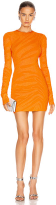 David Koma Studded Zebra Print Knit Dress in Orange | FWRD