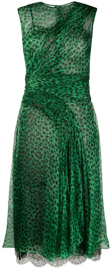 Ermanno Scervino Animal Print Pleated Dress