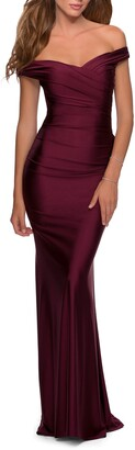 La Femme Off the Shoulder Trumpet Gown