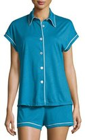 Cosabella Bella Cap Sleeve Pajama Set, Ardesia Blue/Ivory
