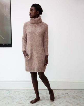 Beaumont Organic AW20 - Nell Marie Alpaca Organic Cotton Dress In Brown - Brown / Extra Small