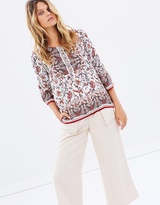 Moon River Pintuck Detailed Woven Top w 3/4 Sleeves